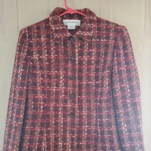 Jones New York Woman's Size 8 Plaid Jacket Coat